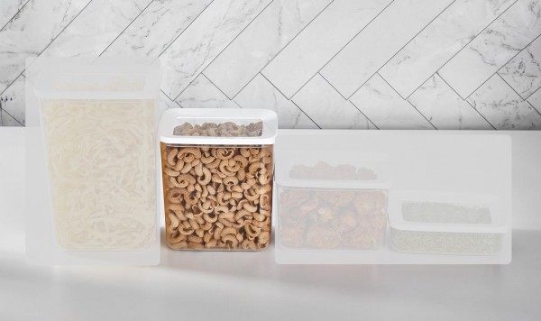 Vakuum Aufbewahrungsbox 2.200 ml 2er Set Transparent-Weiß Vipahmet VP-102