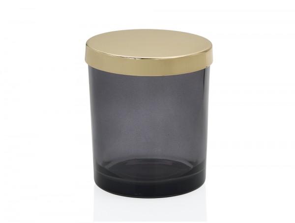 Dekorativer Glasbox Schale mit Gold Metalldeckel 9x10cm