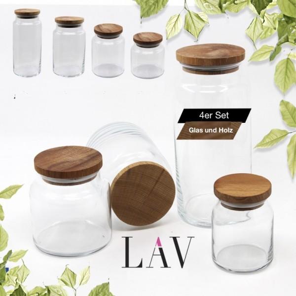 Lav SER 4er Set Aufbewahrungsbehälter aus Glas mit Holzdeckel