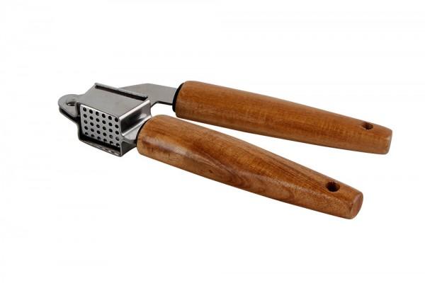 WOODPECKER Knoblauchpresse 20 cm Holz und Edelstahl