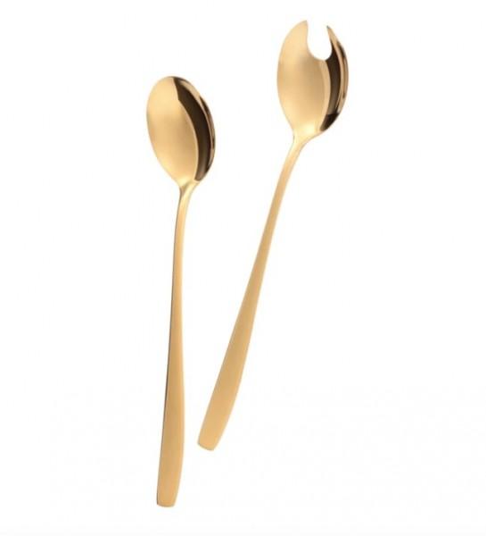 Elegantes Salatbesteck GOLD 2-teilig Edelstahl