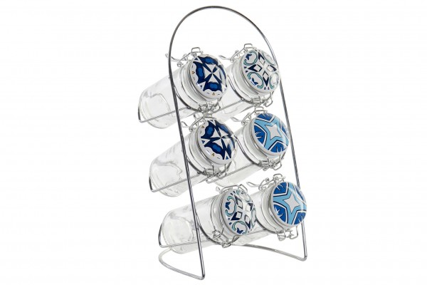 Gewürzbehälter Set mit Stand Glas Edelstahl 14x12x24 cm 90ml
