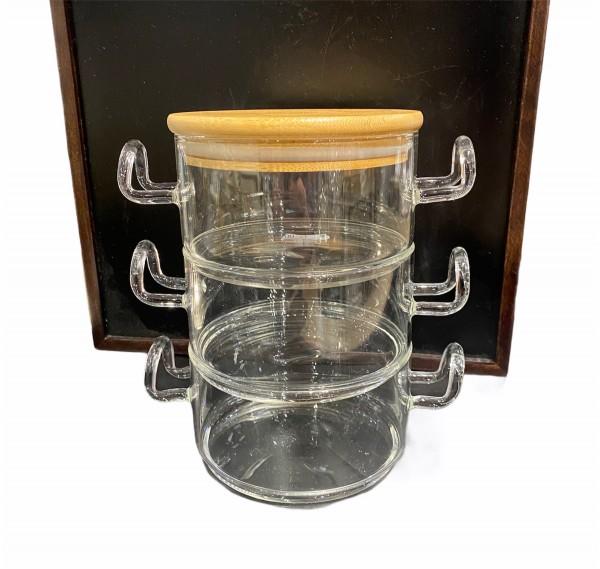 GLAS Aufbewahrungsbehälter ELISA 3er Set mit Bambusdeckel Stapelbar