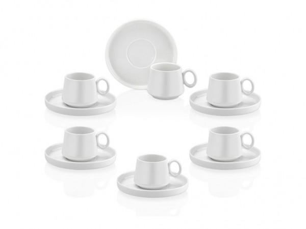 TAC TULIP Design Mokkatassen WEIß 6 Personen Set 12-teilig