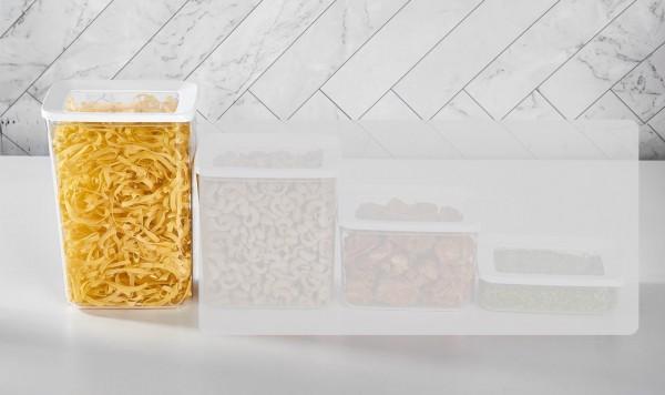 Vakuum Aufbewahrungsbox 2.900 ml 2er Set Transparent-Weiß Vipahmet VP-101