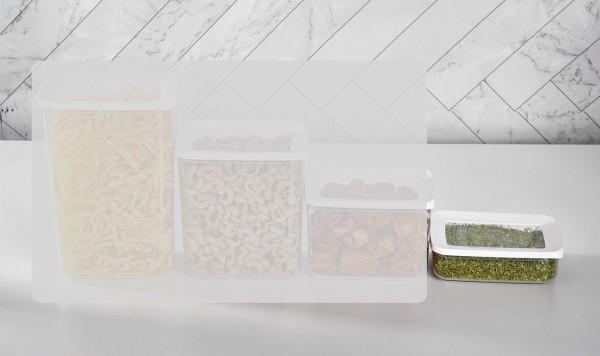 Vakuum Aufbewahrungsbox 600 ml 2er Set Transparent-Weiß Vipahmet VP-104